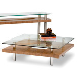 Double Glass and Wood Contemporary Coffee Table