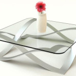 Elegant Glass and Metal Coffee Table