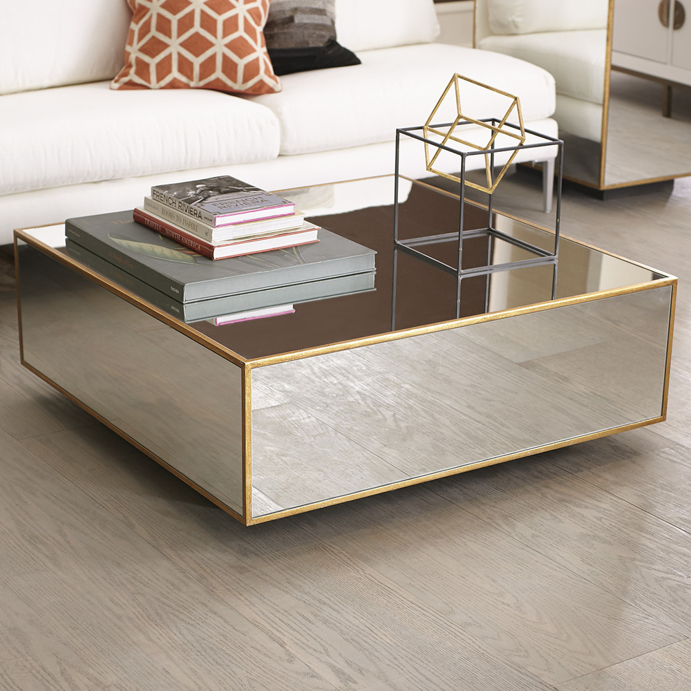 Floating Glass Wisteria Coffee Table Coffee Tables - Glass coffee table with gold trim