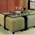 Glass Coffee Table With Ottomans