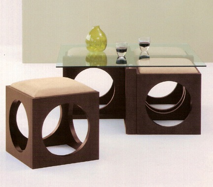 Glass Coffee Table with Cube Ottomans