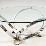 Glass Top Coffee Table with Shiny Metal Circle Legs