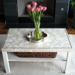 Ikea Lack Coffee Table with Vase of Flowers