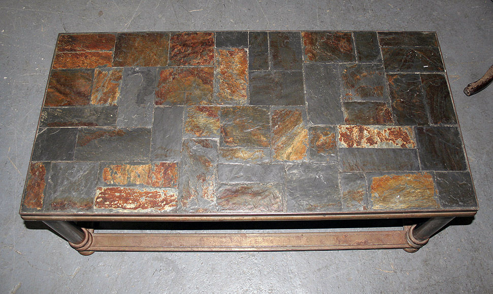 Iron and Slate Coffee Table