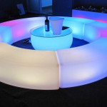 Led Coffee Table with Curved Led Bench