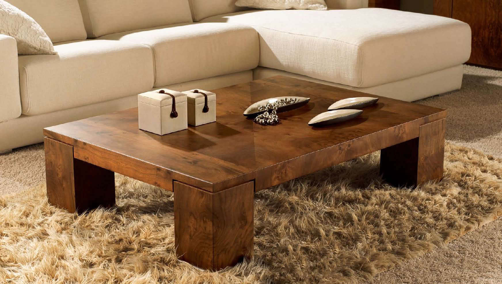 Low Rustic Wood Coffee Table