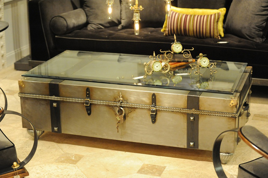 Metal Trunk Coffee Table With Glass Top Image And Description