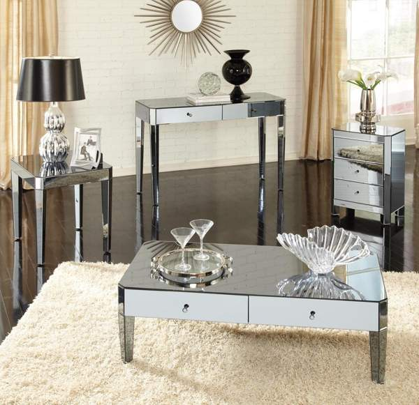 Mirrored Coffee Table Set With Drawers Coffee Tables