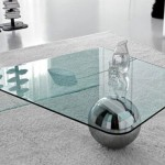 Modern Glass and Metal Coffee Table