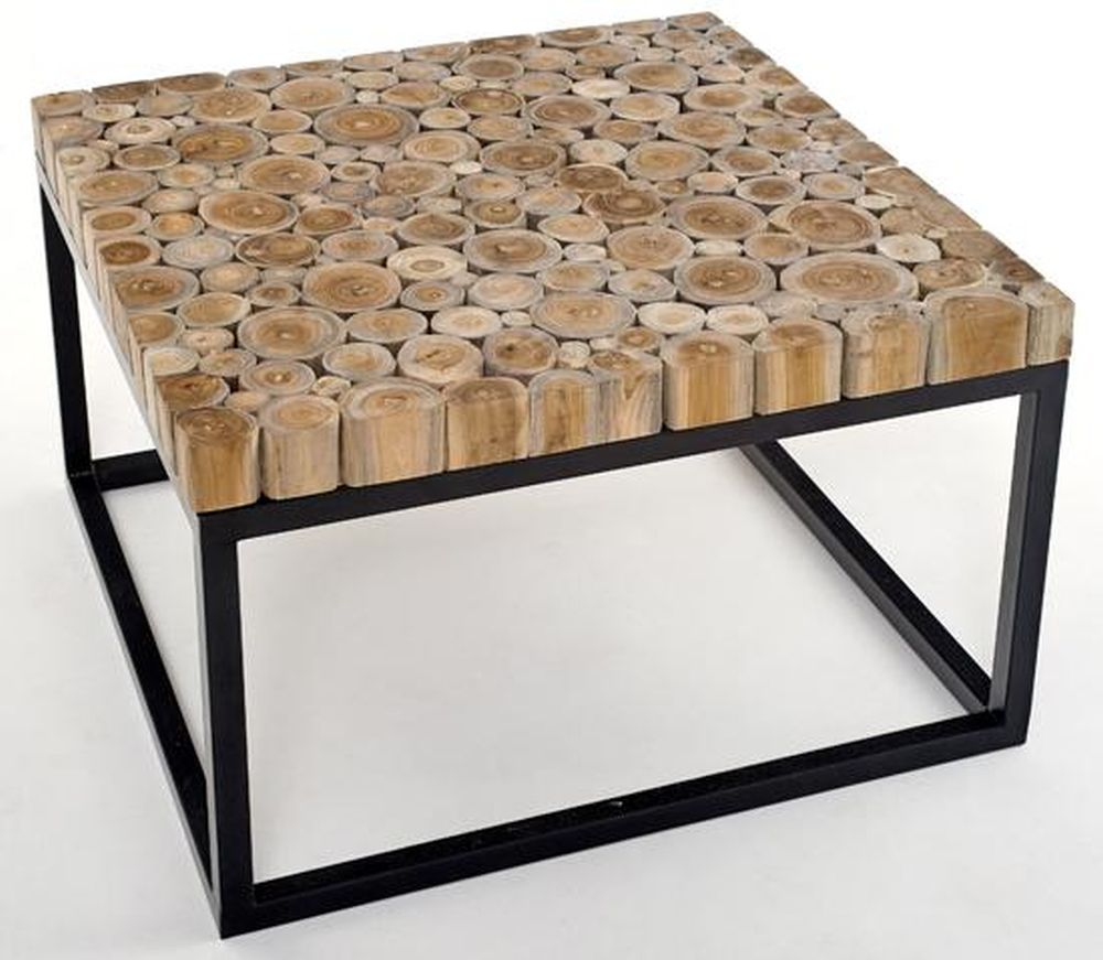 Natural Wood Coffee Table with Metal Base