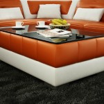 Orange and White Leather Coffee Table