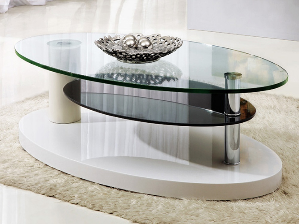 Oval Glass Coffee Table With Shelf  Coffee Tables