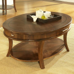 Oval Wooden Coffee Table with Tiny Drawers