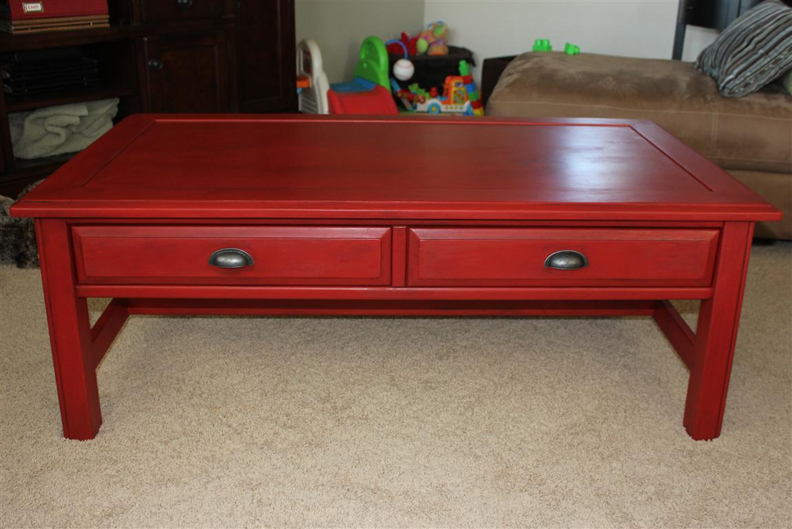 Red Painted Coffee Table