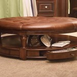 Round Leather Coffee Table with Small Drawers