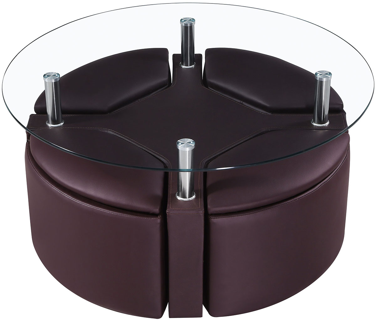 Round Ottoman Coffee Table with Round Glass Counter