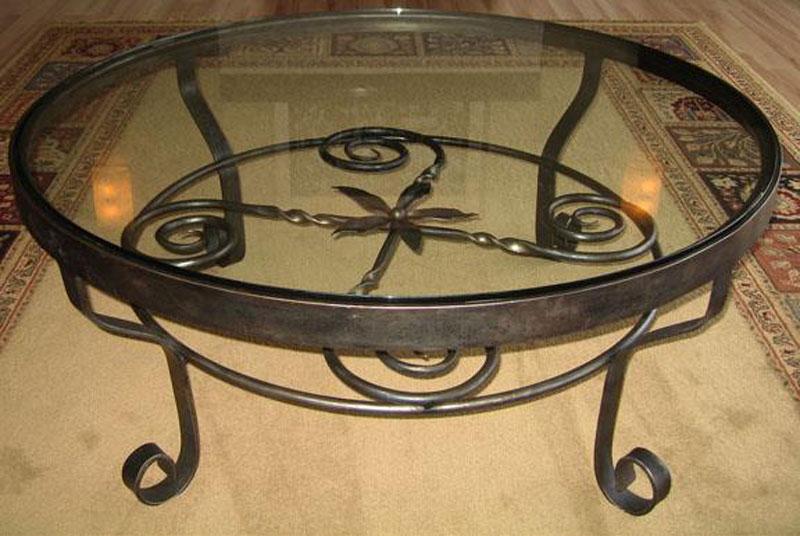 Round Wrought Iron Coffee Table Image And Description