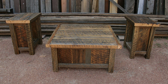 Rustic End Table Set
