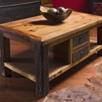 Rustic Wood Coffee Table with Drawers
