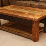 Rustic Wood Coffee Table with Shelf