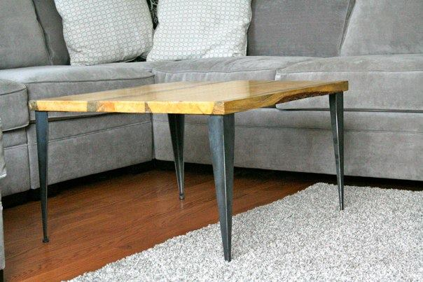 Small Coffee Table with Metal Legs and Wooden Top