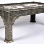 Stamped Silver and Copper Metal Coffee Table