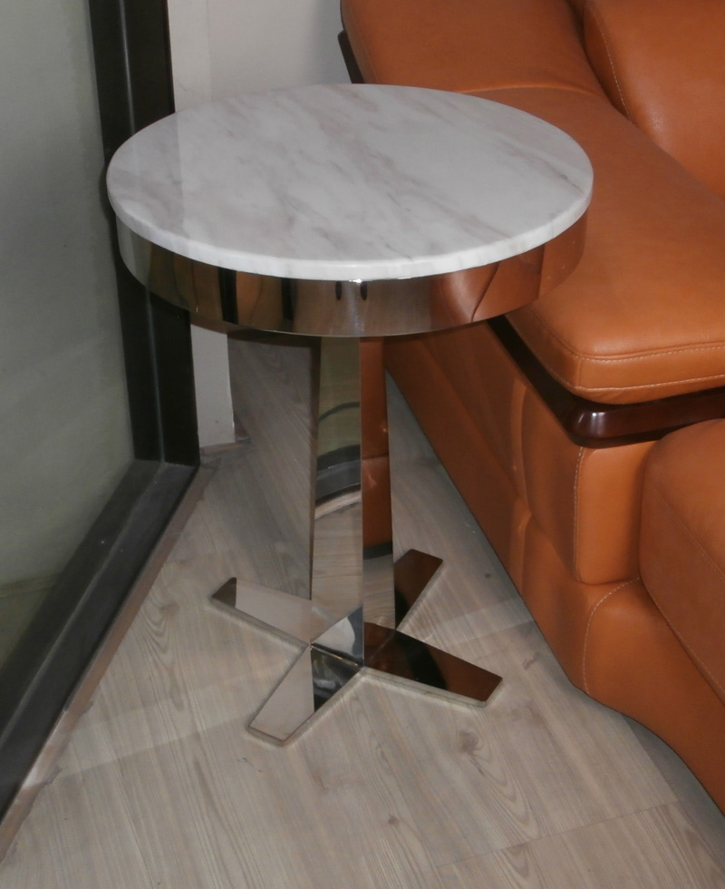 Steel Marble Corner Table