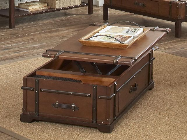 Trunk Coffee Table With Sliding Top Image And Description