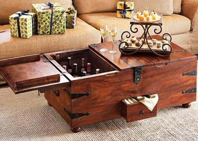 Wine Storage Trunk Coffee Table Idea