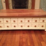 Wood Apothecary Table with White Boxes