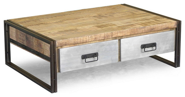 Wood Coffee Table with Metal Drawers