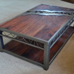 Wood and Metal Coffee Table with Distressed Top