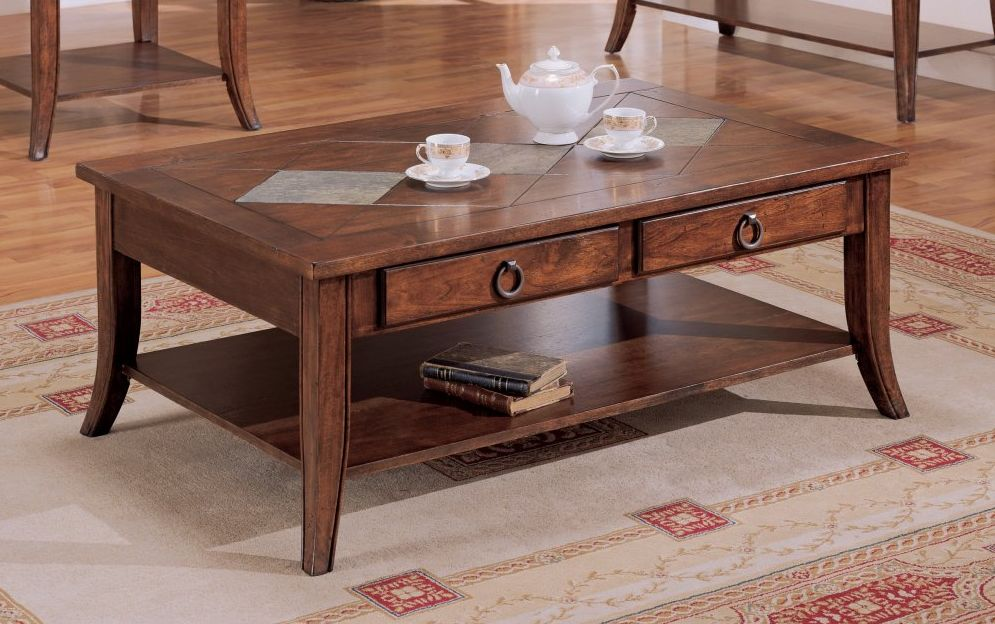 Wooden Coffee Table with Slate Inserts