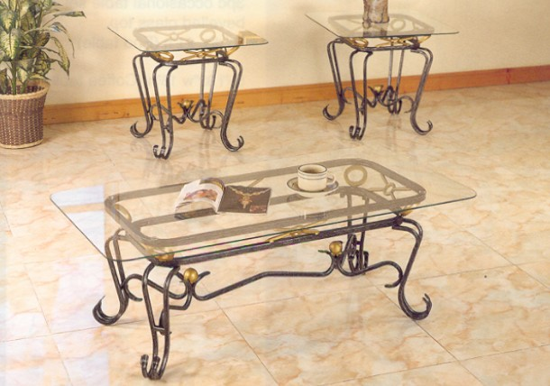 Wrought Iron Coffee Table With Gl Top Tables