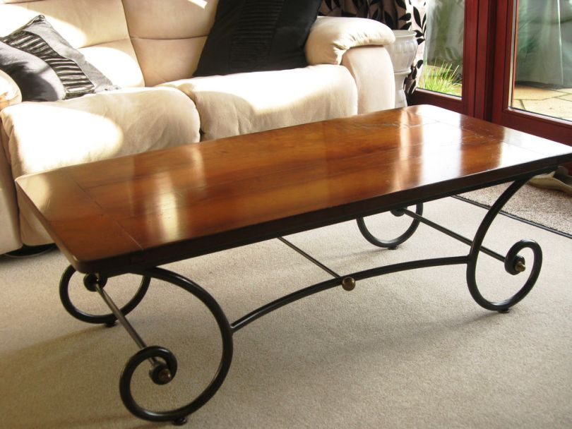 Wrought Iron Coffee Table With Wooden Top Image And Description
