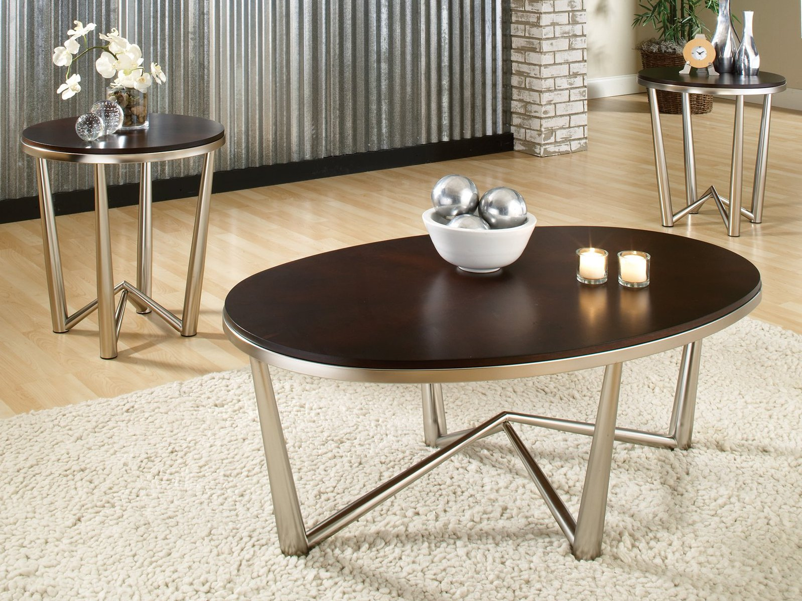 Cherry Wood Coffee Table with Metal Legs