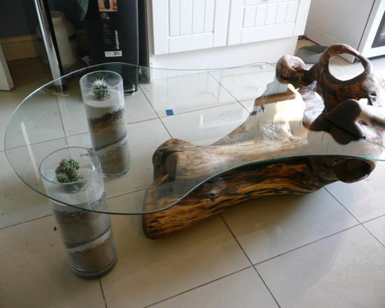 Combined Driftwood and Glass Tube Base Coffee Table