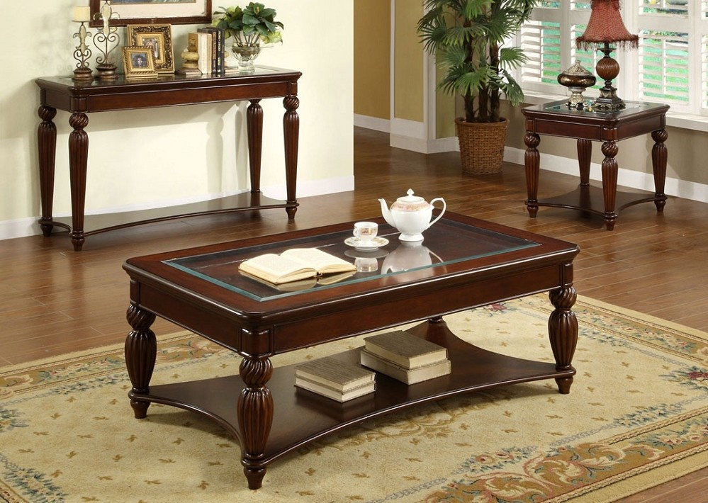 Double Cherry Wood Coffee Table Image And Description