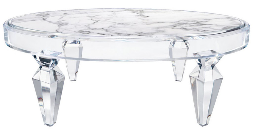 Merveilleux Lucite Coffee Table With Stone Inset Top Image And Description