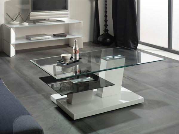 Modern Glass Coffee Table with Massive Base
