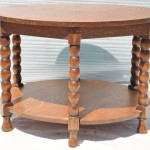 Round Oak Coffee Table with Multiple Legs