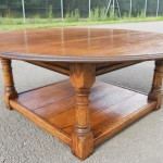 Round Oak Coffee Table with Square Base