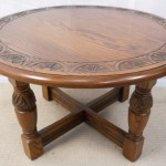 Round Oak Coffee Table with Support Feet