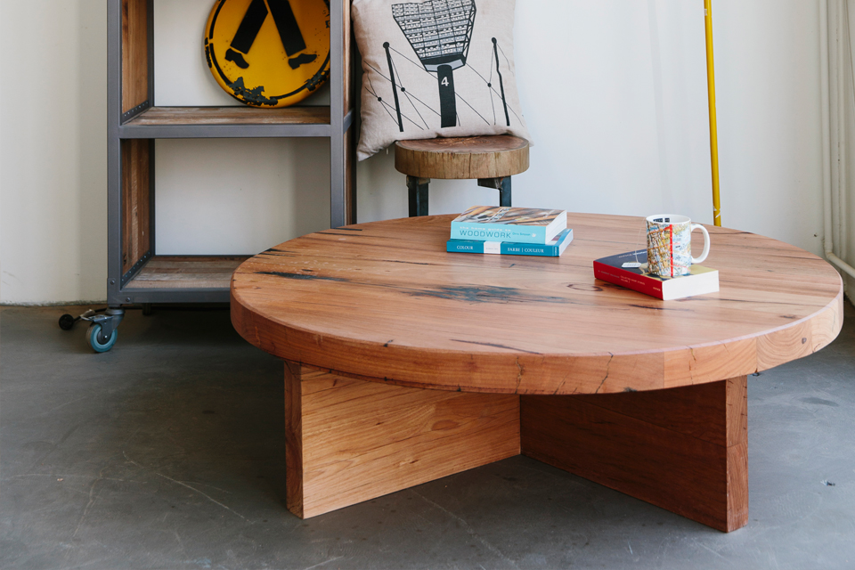 Round Oak Coffee Table with X-Base