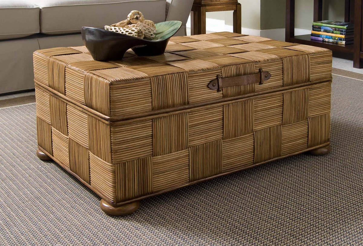 Wicker Storage Ottoman Coffee Table Coffetable - Round Wicker Ottoman Coffee Table CoffeTable