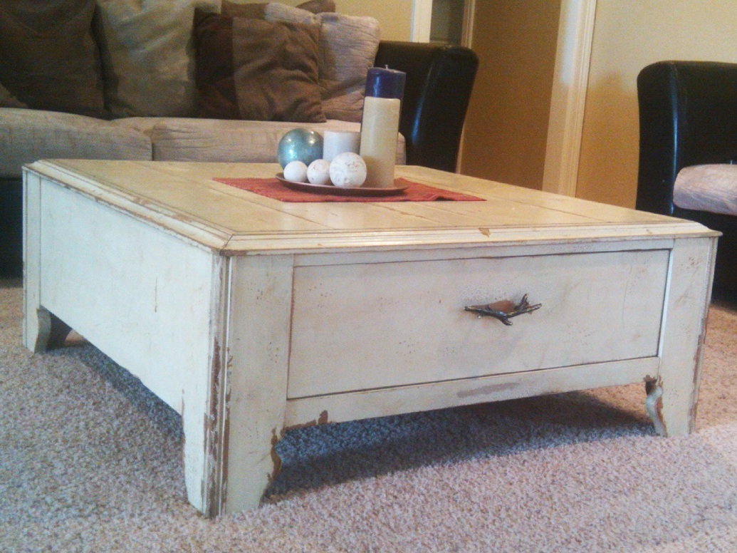 Beau Distressed Coffee Table With Drawer Image And Description