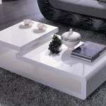 Double-Level White Lacquer Coffee Table