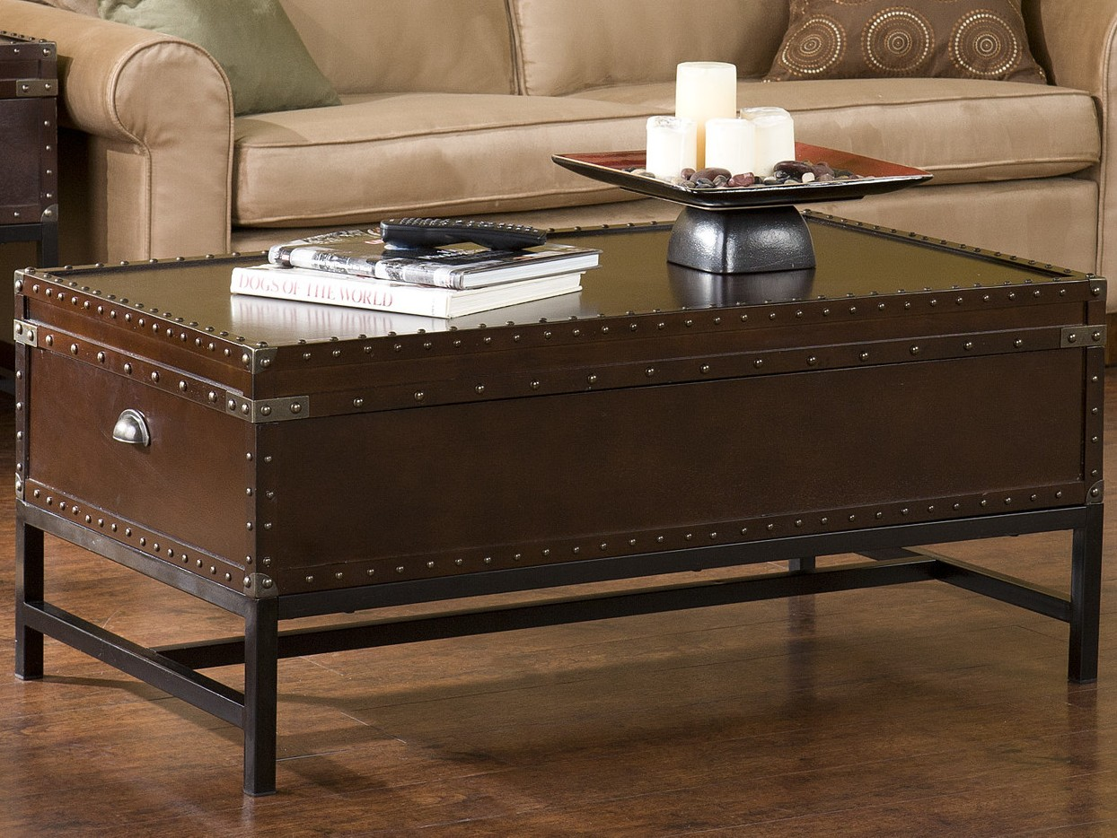 Charmant Industrial Trunk Coffee Table With Lift Top Image And Description