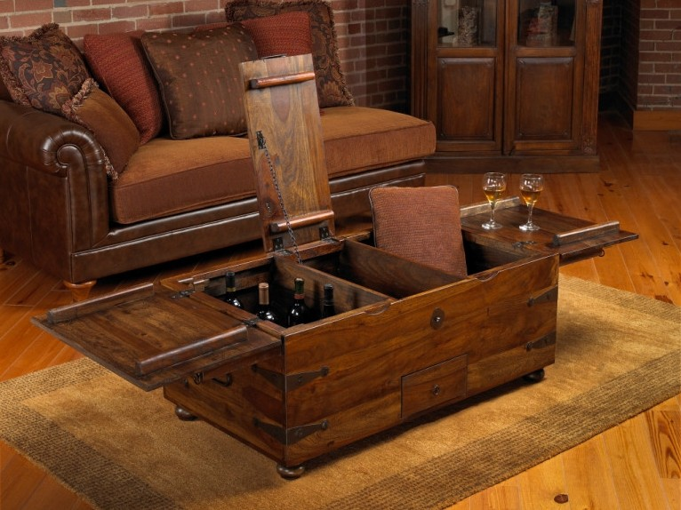 Industrial Trunk Coffee Table with Storage