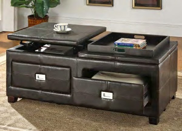 Leather Coffee Table With Drawers Image And Description